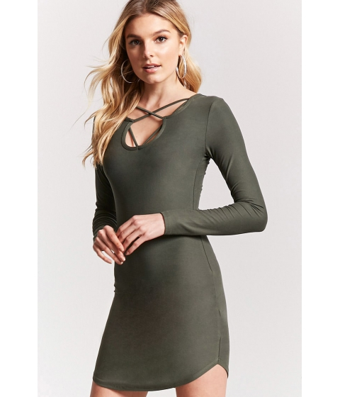 Imbracaminte Femei Forever21 Caged Dolphin Hem Dress OLIVE