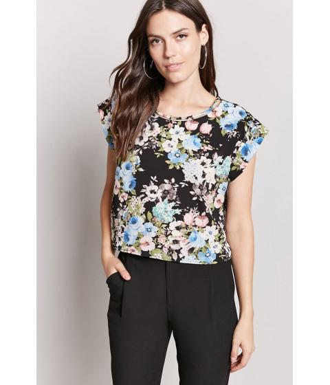 Imbracaminte Femei Forever21 Crepe Woven Floral Top BLACKBLUE