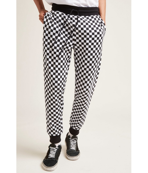 Imbracaminte Barbati Forever21 Checkered French Terry Joggers BLACKWHITE