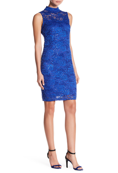 Imbracaminte Femei Marina Mock Neck Lace Sequin Dress ROYAL