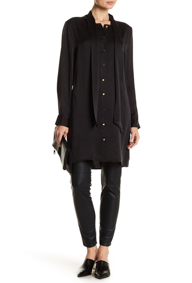 Imbracaminte Femei Equipment Leema Tie Neck Silk Dress TRUE BLACK