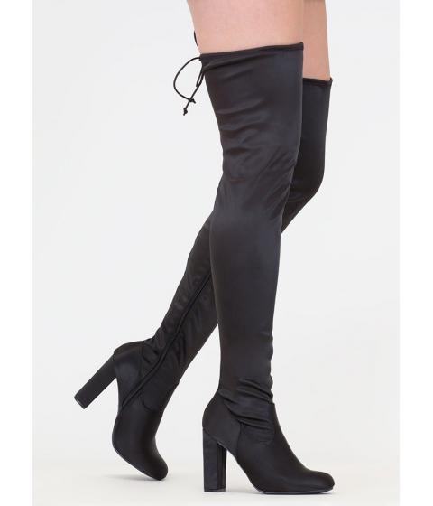 Incaltaminte Femei CheapChic What A Draw Satin Thigh-high Boots Black