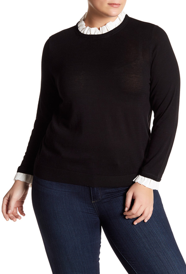 Imbracaminte Femei 14th Union Mixed Media Sweater Plus Size BLACK