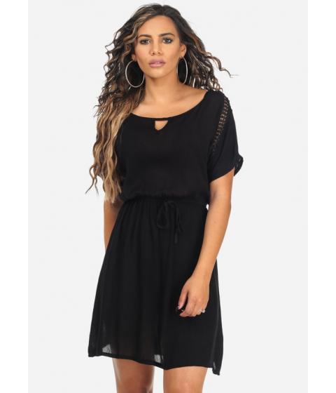 Imbracaminte Femei CheapChic Short Sleeve Black Crochet Detail Keyhole Neck Above Knee Dress Multicolor