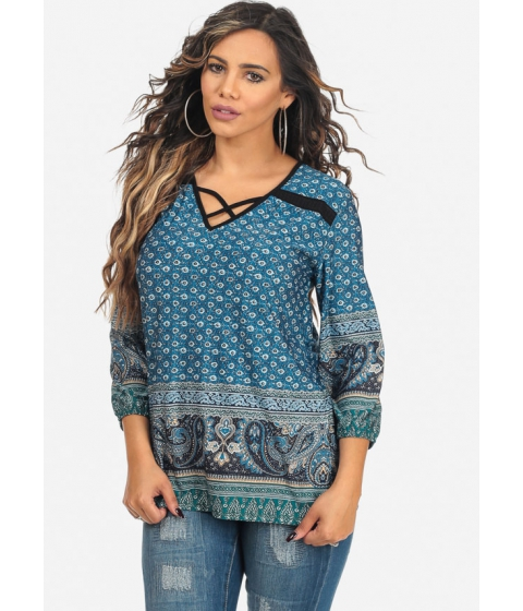 Imbracaminte Femei CheapChic 34 Sleeve Teal Printed V-Neck Lace Up Chiffon Top Multicolor