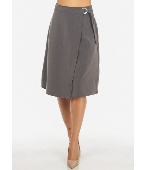 Imbracaminte Femei CheapChic Womens High Waisted Solid Grey Wrap Front Stylish Midi Skirt Multicolor