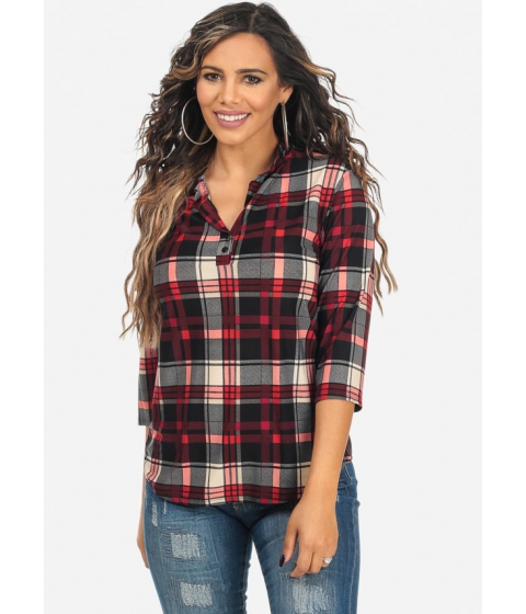 Imbracaminte Femei CheapChic Red Plaid Print 34 Sleeve Two Button V-Neck Trendy Top Multicolor