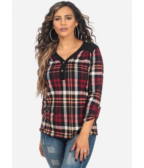 Imbracaminte Femei CheapChic Black and Red 34 Roll Up Sleeve V-Neck Plaid Print Top Multicolor