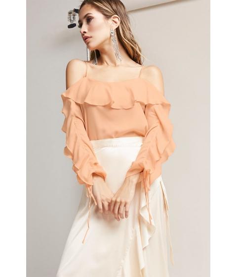 Imbracaminte Femei Forever21 Open-Shoulder Ruffle Top CHAMPAGNE