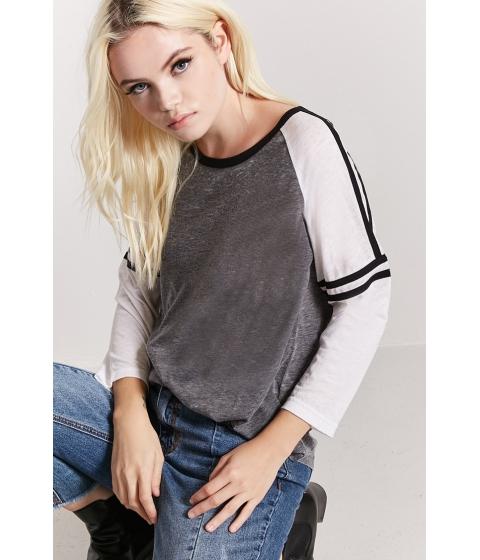 Imbracaminte Femei Forever21 Varsity-Sleeve Burnout Knit Baseball Tee GREYCREAM