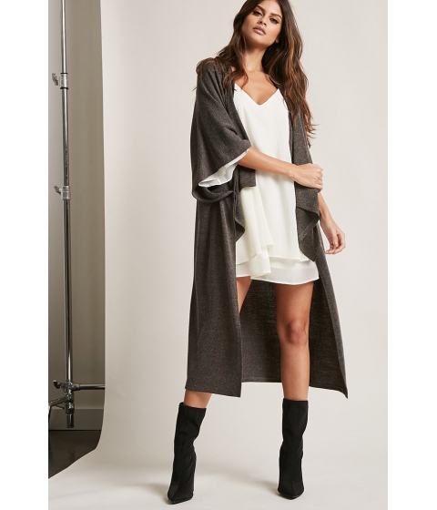 Imbracaminte Femei Forever21 Brushed High-Low Cardigan CHARCOAL