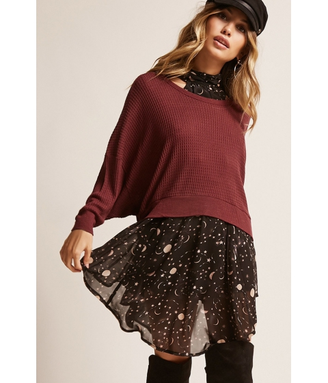 Imbracaminte Femei Forever21 Open-Back Waffle Knit Top BURGUNDY