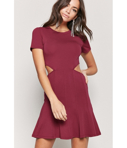 Imbracaminte Femei Forever21 Fit and Flare Cutout Dress BERRY