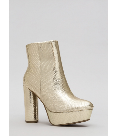 Incaltaminte Femei CheapChic Good Vibes Scaled Platform Booties Gold