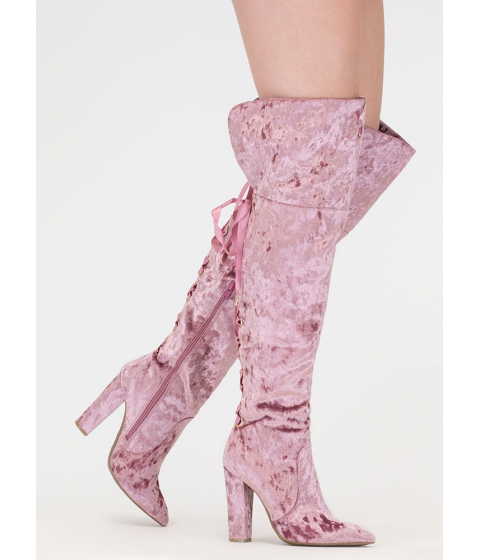 Incaltaminte Femei CheapChic Lace U Back Velvet Thigh-high Boots Mauve