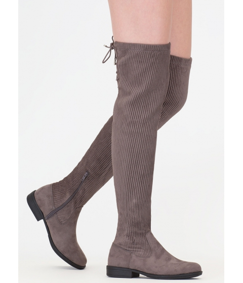 Incaltaminte Femei CheapChic Pleats And Thank You Thigh-high Boots Grey
