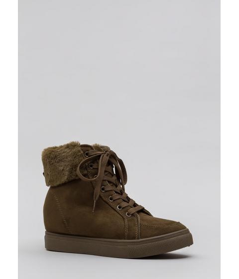 Incaltaminte Femei CheapChic Furry Along Cuffed Wedge Sneakers Olive
