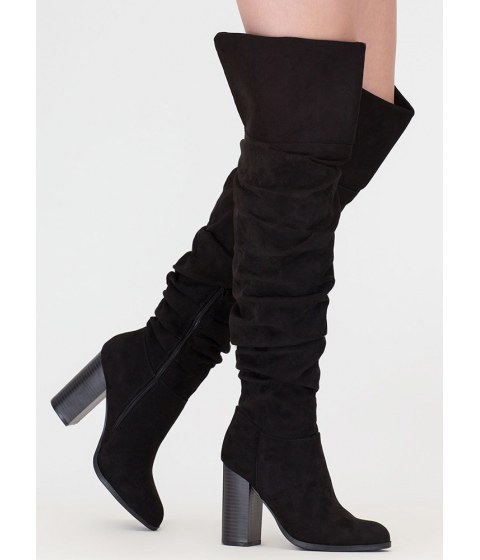 Incaltaminte Femei CheapChic Slouch Appeal Chunky Thigh-high Boots Black