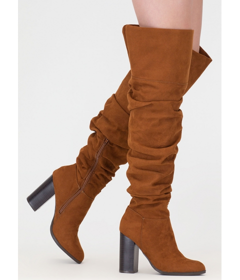 Incaltaminte Femei CheapChic Slouch Appeal Chunky Thigh-high Boots Chestnut