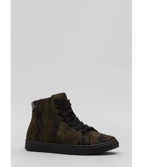 Incaltaminte Femei CheapChic Run Away Camo Print High-top Sneakers Camouflage