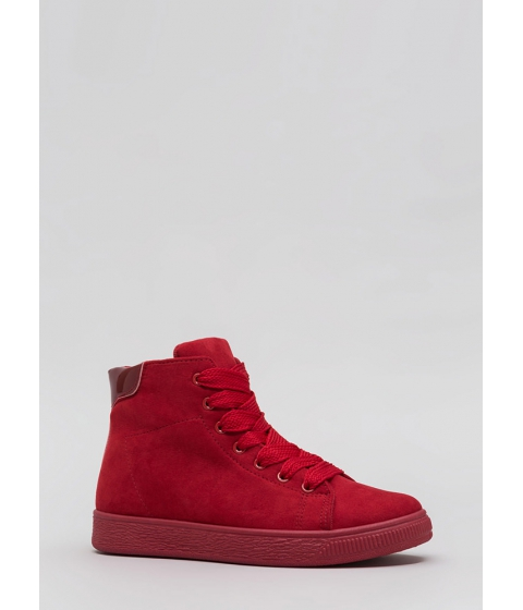 Incaltaminte Femei CheapChic Run Away Faux Suede High-top Sneakers Red