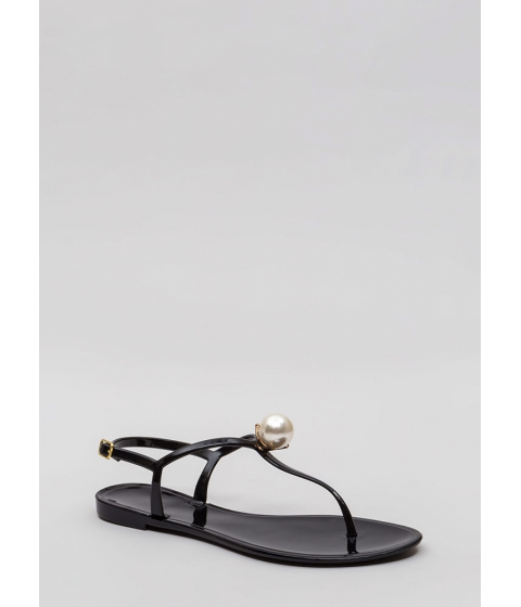Incaltaminte Femei CheapChic Pretty As A Pearl Jelly Thong Sandals Black