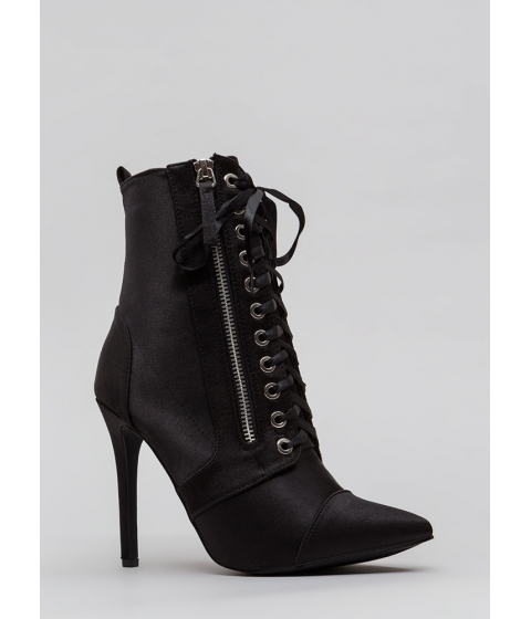 Incaltaminte Femei CheapChic Point Value Satin Lace-up Booties Black