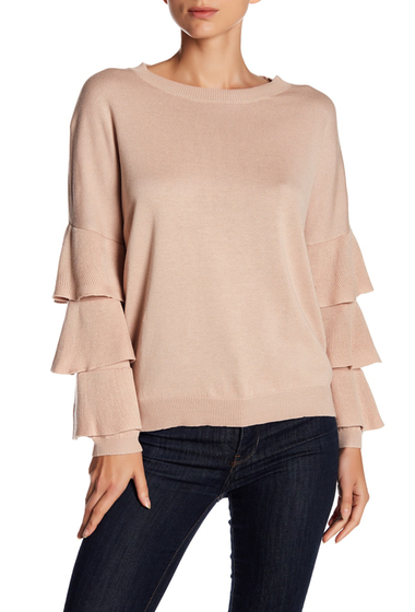 Imbracaminte Femei John Jenn Layered Ruffle Sleeve Sweater PINK DUST