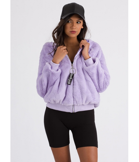 Imbracaminte Femei CheapChic Girl Gang Fluffy Hooded Faux Fur Jacket Lavender