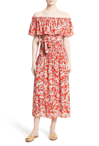 Imbracaminte Femei Rebecca Taylor Cherry Blossom Silk Off-the-Shoulder Dress CANDY APPLE COMBO