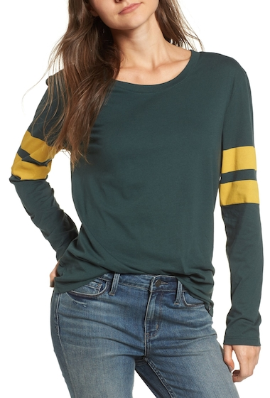 Imbracaminte Femei Treasure Bond Varsity Stripe Cotton Tee GREEN GABLES COMBO