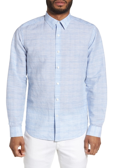 Imbracaminte Barbati Theory Sylvain Dashed Trim Fit Shirt CLEAR BLUE MULTI