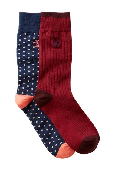 Accesorii Barbati Original Penguin Gabriel Providence Crew Socks - Pack of 2 CORAL