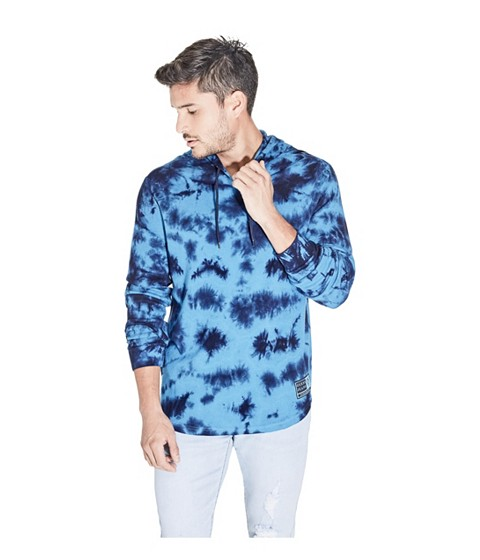 Imbracaminte Barbati GUESS Drom Tie-Dye Thermal Hoodie sea blue
