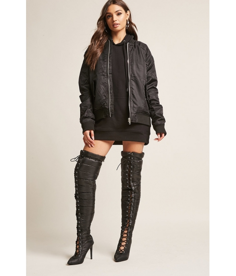 Incaltaminte Femei Forever21 Puffer Lace-Up Over-the-Knee Boots BLACK