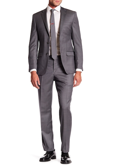 Imbracaminte Barbati Simon Spurr Gray Sharkskin Wool Two Button Notch Lapel Suit GREY