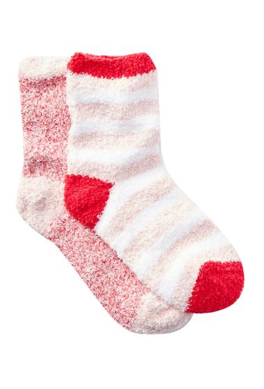 Accesorii Femei Free Press Patterned Fuzzy Socks - Pack of 2 PINK PEACHSKIN HEATHER STRIPE