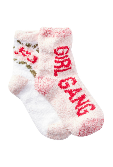 Accesorii Femei Free Press Patterned Fuzzy Socks - Pack of 2 WHITE ROSE