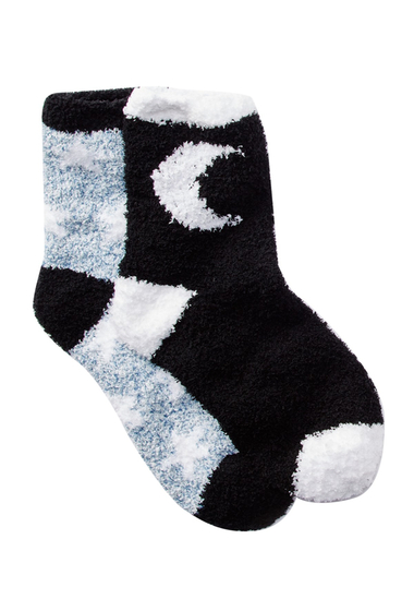 Accesorii Femei Free Press Patterned Fuzzy Socks - Pack of 2 BLACK MOON