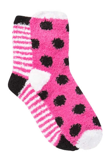 Accesorii Femei Free Press Patterned Micro Crew Fuzzy Socks - Pack of 2 PINK LILAC STRIPE