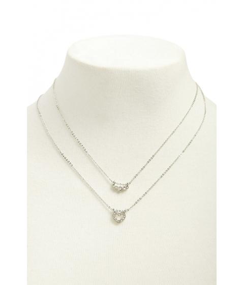 Bijuterii Femei Forever21 Heart Pendant Layered Necklace SILVERCLEAR