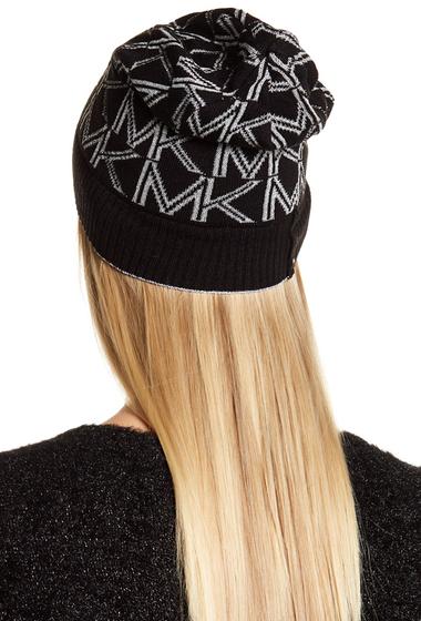 Accesorii Femei MICHAEL Michael Kors Metallic Logo Foldover Beanie BLACK