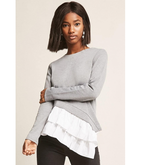 Imbracaminte Femei Forever21 Asymmetrical Ruffle-Panel Top GREY