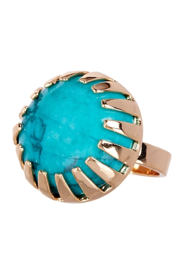 Bijuterii Femei METAL AND STONE Round Dark Green Turquoise Stone Ring - Size 7 NO COLOR