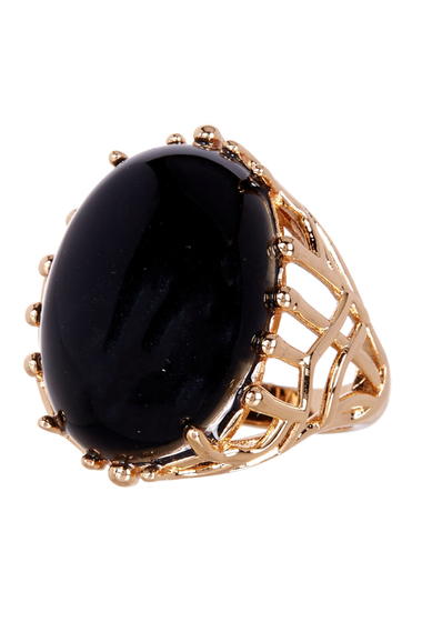 Bijuterii Femei METAL AND STONE Black Coral Open Work Detail Ring - Size 7 NO COLOR