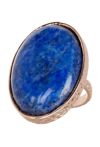 Bijuterii Femei METAL AND STONE Oval Lapis Stone Textured Ring - Size 7 NO COLOR