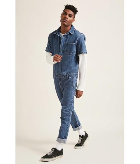 Imbracaminte Barbati Forever21 Snap-Button Denim Jumpsuit DENIM WASHED