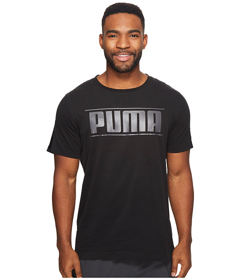 Imbracaminte Barbati PUMA Rebel Tape Logo Tee Cotton Black