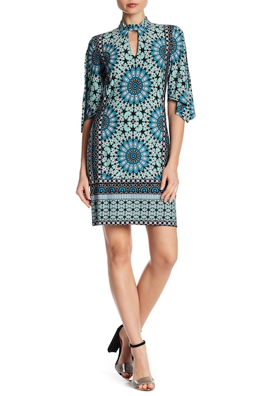 Imbracaminte Femei London Times Mock Neck 34 Sleeve Print Shift Dress BLUE MULTI