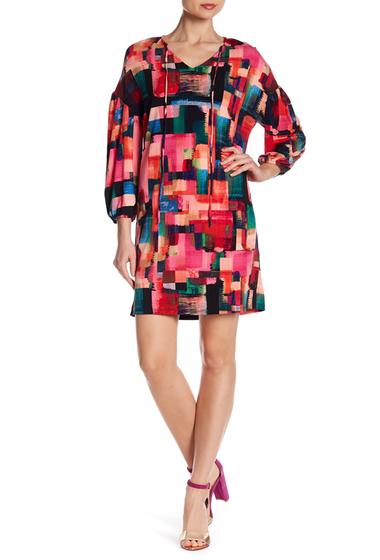 Imbracaminte Femei London Times V-Neck Print Front Tie Dress PINK MULTI